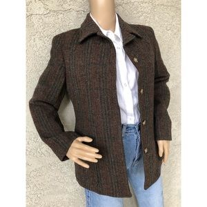 VINTAGE | Wool plaid blazer with button up front